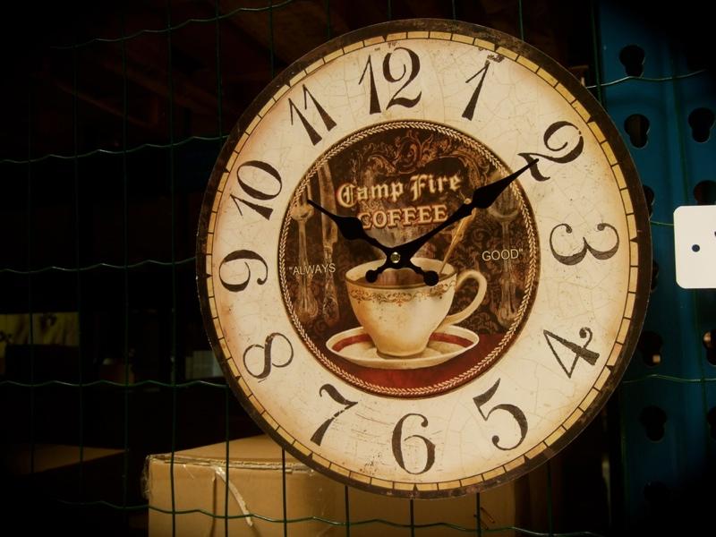 Küchen-Uhr, schicke Wanduhr mit Kaffeetasse, Uhr im Landhausstil ...