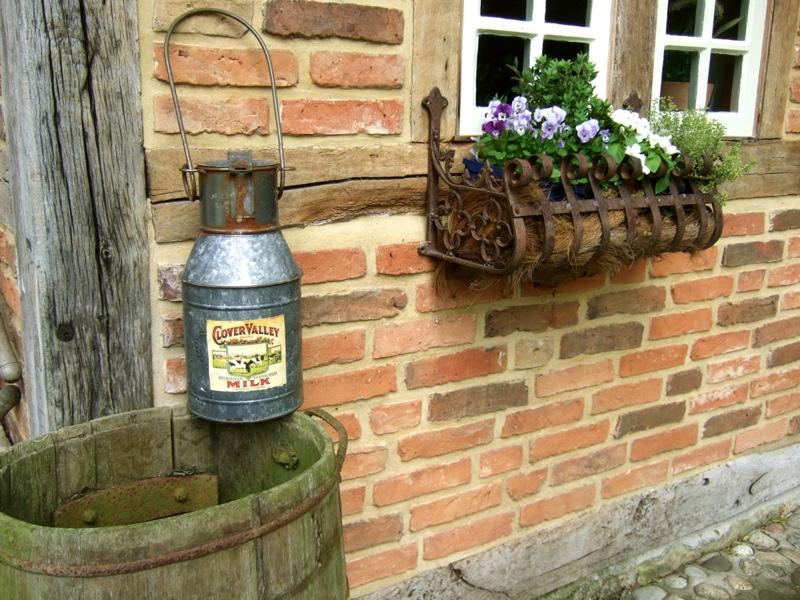 Milchkanne blumenvase aus zink zinkkanne blechkanne for Gartendekoration landhausstil